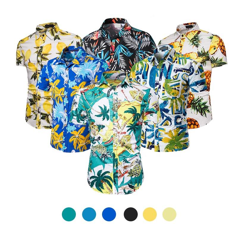 Quick sample making camisa masculina custom Shirts Men Beach Shirts Casual Hawaiian Short Sleeve Summer plus size men's t-shirts