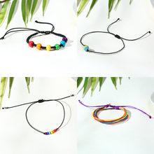 Vnox Набор радужных браслетов для мужчин и женщин с цветными бусинами, очаровательный регулируемый браслет-цепочка, LGBTQ Pride, для геев, лесбияно...(Китай)