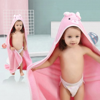 China Supplier Poncho Velvet Turban Cartoon Cute Hooded Baby Bath Towel