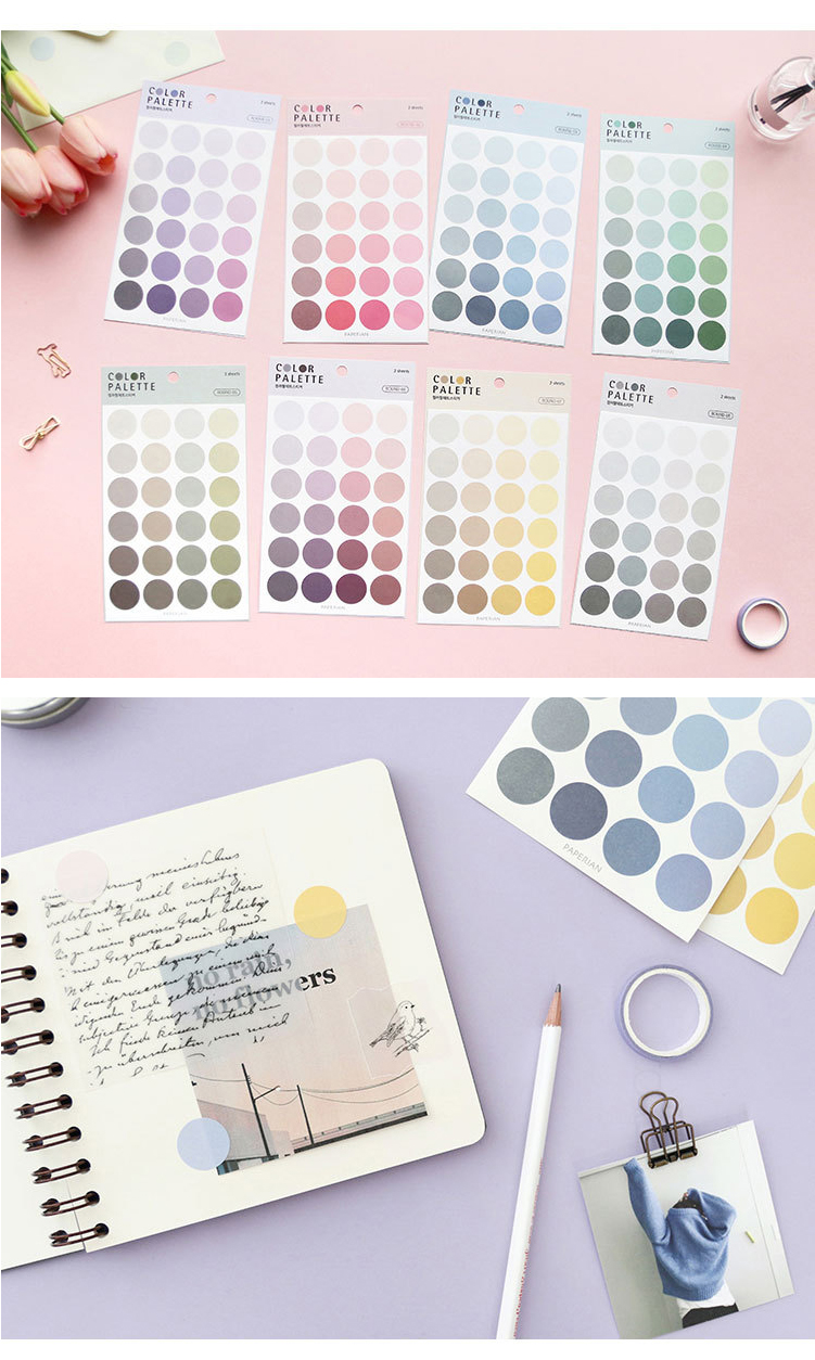 Multi function color label paste 4 pieces into the circular square language system index post it notes