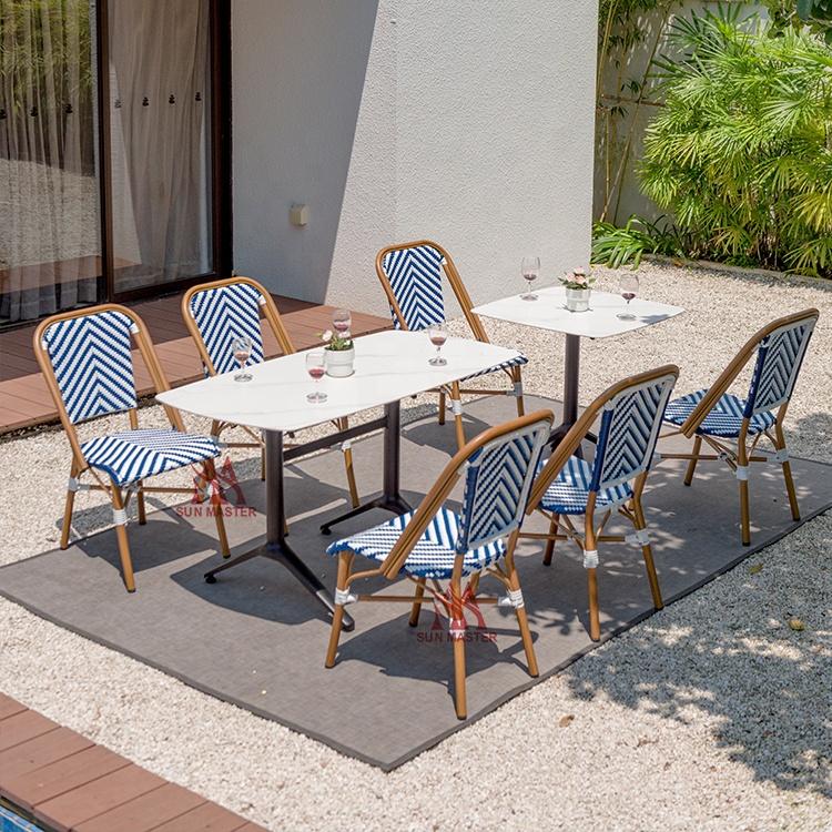 Уличная мебель Сказочный садовый набор французское бистро ротанговое обеденное кресло Современные Балконные гостиничные Клубные штабелируемые плетеные цветочные стулья