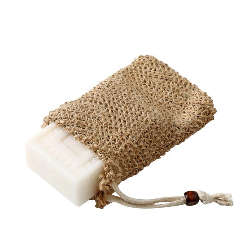 Натуральный джутовый пеньковый Отшелушивающий скребок для тела, мешок для мыла