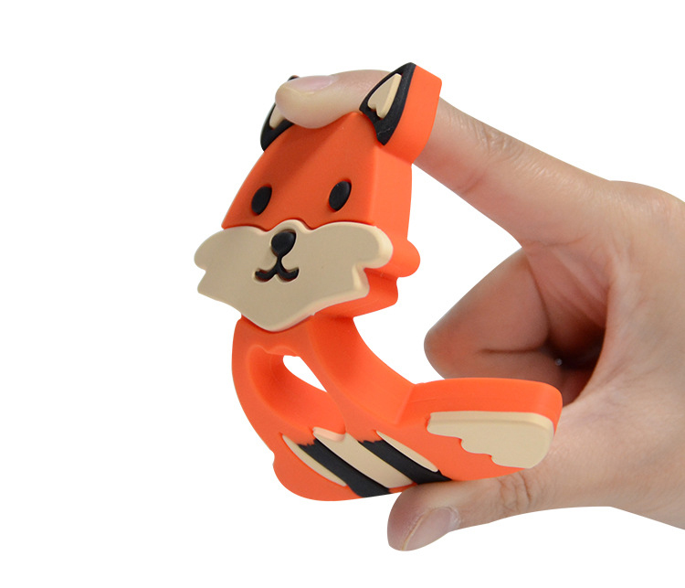 BPA Free Teething Pendant Chew Toy for Baby Fox Animal Shape Silicone teether toys