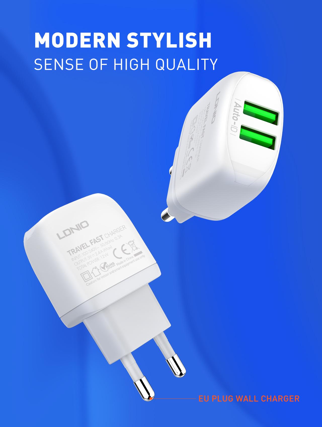 LDNIO A2219 2.4A Pengisi Daya Dinding, Pengisi Daya Cepat Colokan EU USB Dua untuk Ponsel/iPhone 12