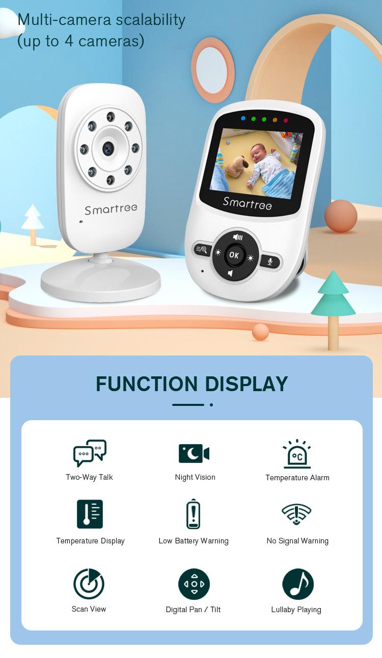 Детский монитор OEM, горячая Распродажа, инфракрасный пластик, белый, 2,4 дюймовый видео аудио Радионяня