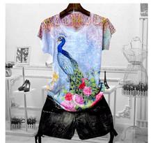 Женская футболка с принтом павлина размера плюс 4XL 2020, летние футболки с коротким рукавом и графикой, тонкая футболка с круглым вырезом(China)