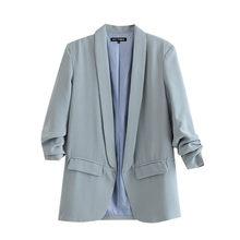 Женская офисная одежда KPYTOMOA, винтажное Плиссированное пальто с длинными рукавами и карманами, верхняя одежда для офиса 2020(Китай)