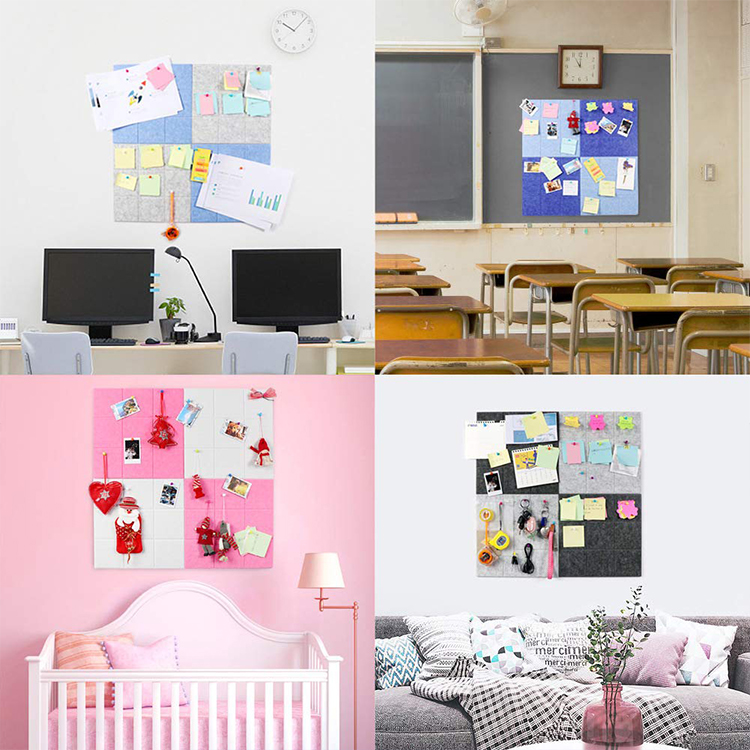 Home wall decoration large sauqre notice board felt pin board for kids