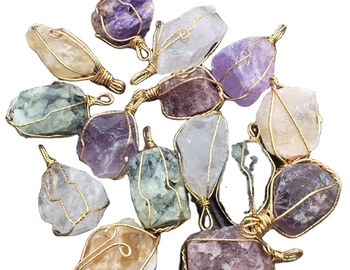 wholesale wire wrapped gemstone pendants charms natural geode quartz stone pendants druzy stone pendant