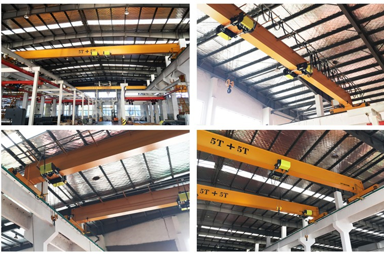 Hot sale top end 5 + 5 ton 15 m single girder beam electric overhead traveling bridge crane with double europe style electric hoist and smart Anti-sway device anti-swaying function in workshop warehouse for material handling price