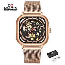 Мужские наручные часы HAIQIN, синие модные механические часы с сетчатым ремешком, водонепроницаемые автоматические часы, 2019(Китай)