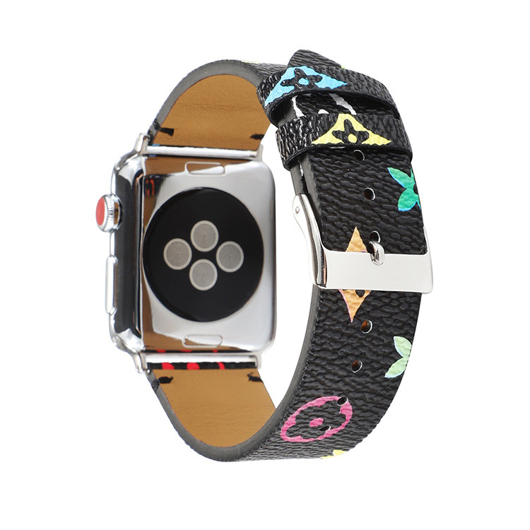 Vintage Leather Watch Strap Printed Leather Watch Band 40mm 44mm 38mm 42mm for Apple