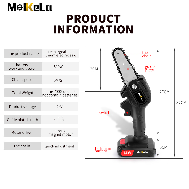 MeiKeLa 24V Electric Lithium Battery Cordless Chain Saw For Wood Cutting