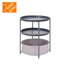 Set Table Bed Side Table 3 Layer Luxury Modern 3 Piece Coffee Set Round Side Table Fabric Storage Basket Drawer Bed Side Table Nightstand For Bedroom