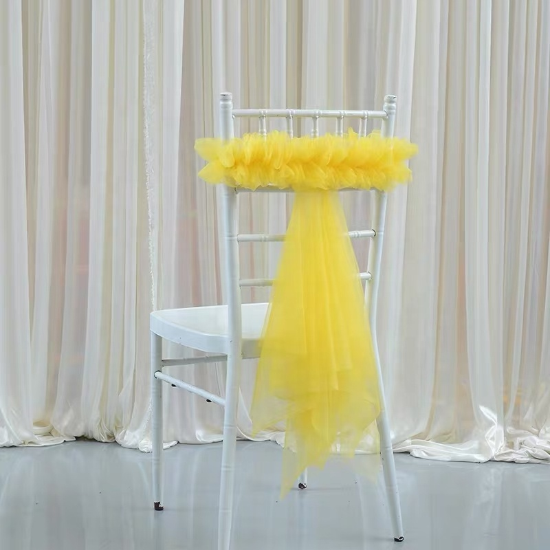 New Design Elegant Tulle Strong Elastic Universal Wedding Chair Sash