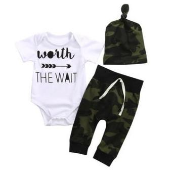 2020 boy clothes set 3ps worth the wait letter romper organic cotton Camo pant hat baby newborn clothing sets
