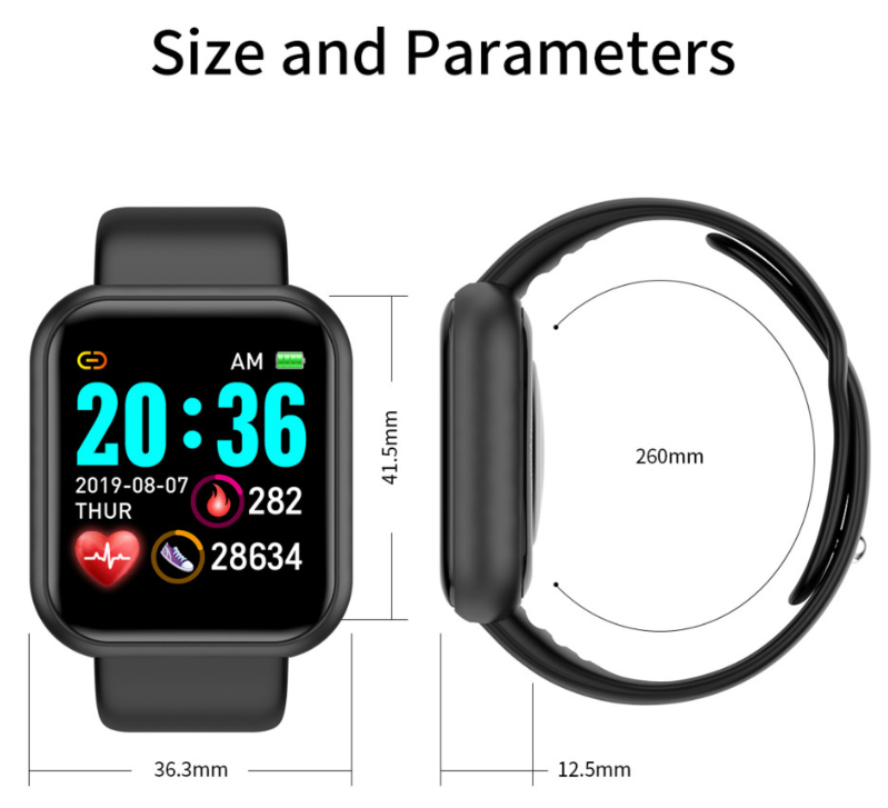 Hot Sale Smartwatch Y68 Smart Watch D20 Cheap OEM Heart Rate Blood Pressure Oxygen Pedometer Sleep Monitor Smart Bracelet