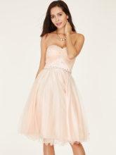 Платье на бретельках Короткие вечерние платья розовый тюль бальное платье принцессы длиной выше колена трапециевидной формы платье lady beaded ...(Китай)
