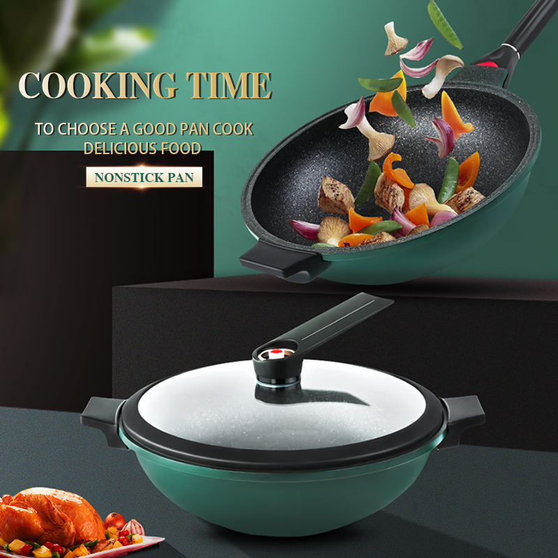Factory price removable handle micro-pressure marble coated wok pan deep frypan kitchen cookware