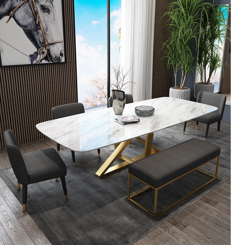 Marble Dining Table Marble Top Dining Table Set Simple Gold Legs Dining Table Set 6 Seater Buy 6 Seater Sofa Set Marble Top Restaurant Tables Dining Table With Marble Top Long