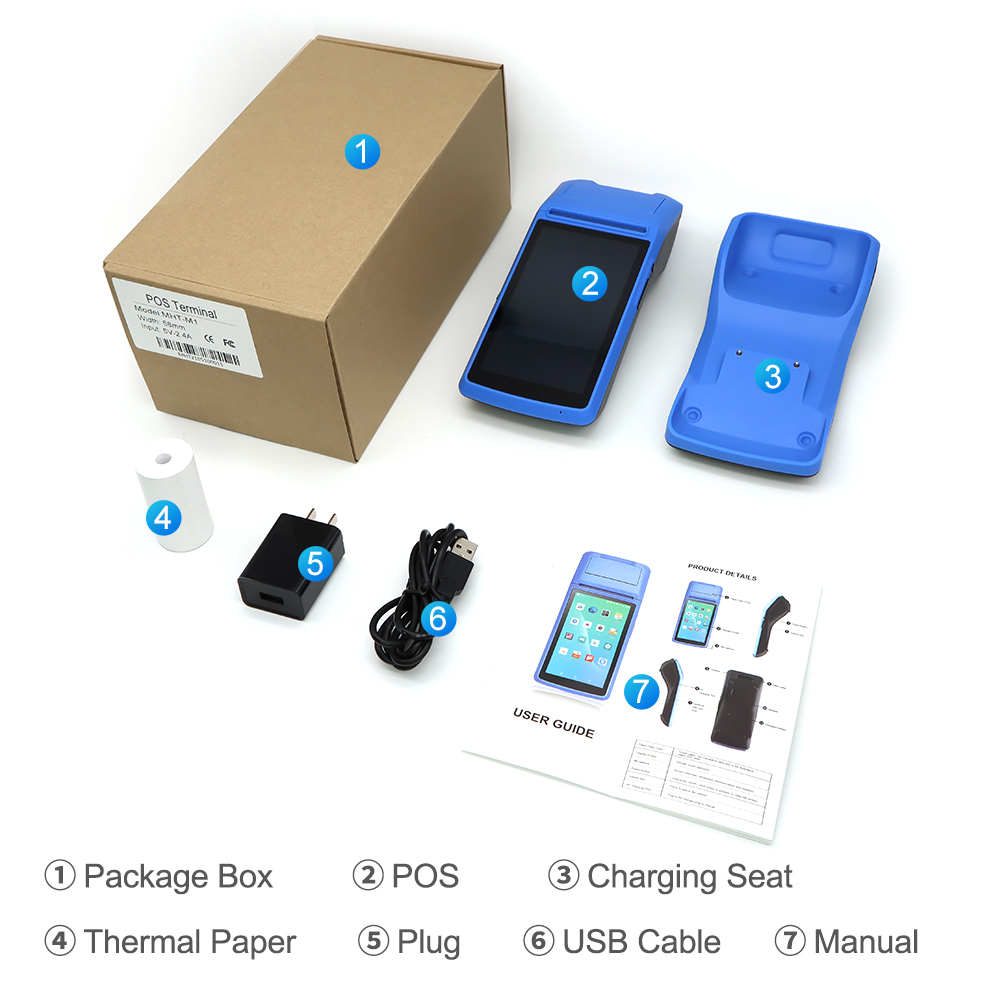 Недорогой кассовый аппарат, мини-терминал для мобильных pos-систем, портативный pos-терминал на android, емкостный сенсорный экран, терминальный принтер для оплаты, pos-терминал