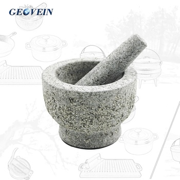 Molcajete Stone Grinder Guacamole Bowl Unpolished Heavy Granite Mortar And Pestle Set with Anti Scratch slip Base