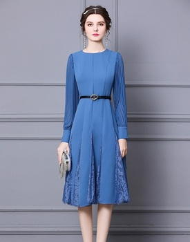 High Quality New 2021 Spring Dress Women O-Neck Lace Patchwork Beading Belt Deco Full Sleeve Large Swing Black Blue Dress XXL