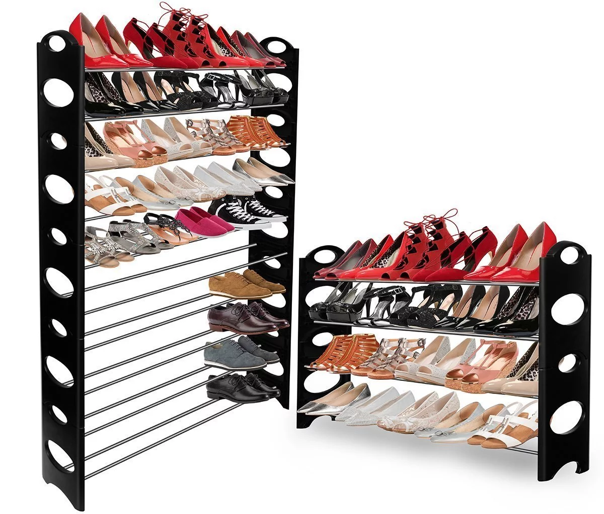 30 pair 10 Tier Layer Smart Metal Simple Shoe Rack Fabric Shoe Cabinet