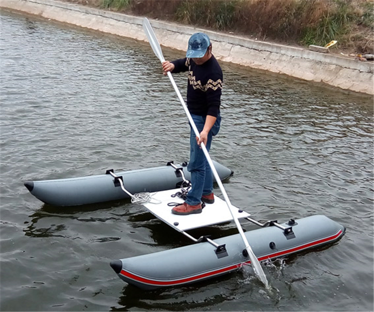 Stainless Steel Bow Inflatable Catamaran Simple Inflatable Lure Fishing Catamaran