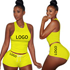 Clothing Oem Designs 2 Piece Women Outfits Custom Logo Summer Women Trendy Yoga Clothing Plain Blank Vest With Shorts 2 Piece Outfit