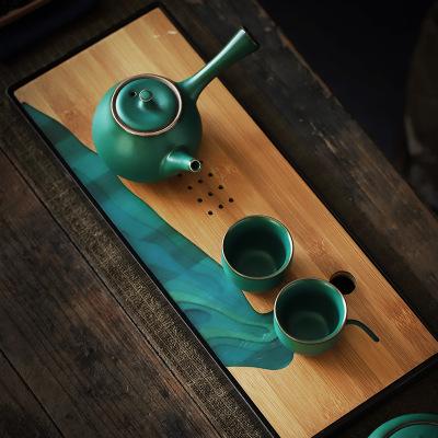 Чайный сервиз KungFu, японский бамбуковый поднос для хранения воды, длинный прямоугольный поднос с меламином