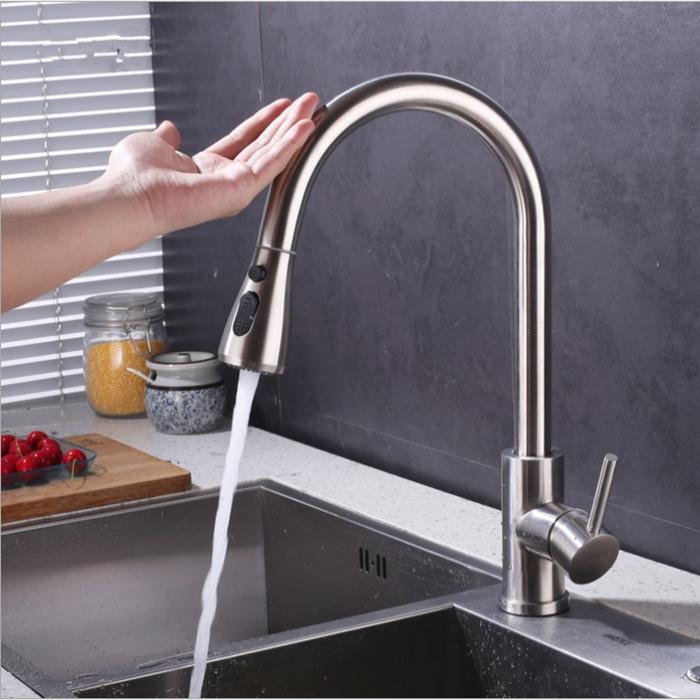 Автоматический смеситель для раковины, кухонный кран из нержавеющей стали с 2 функциями, вытяжной сенсор, upc