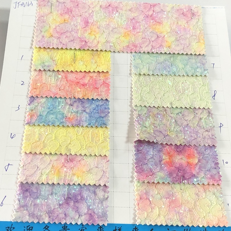 Nice quality PU lace chunky glitter vinyl fabric for bows