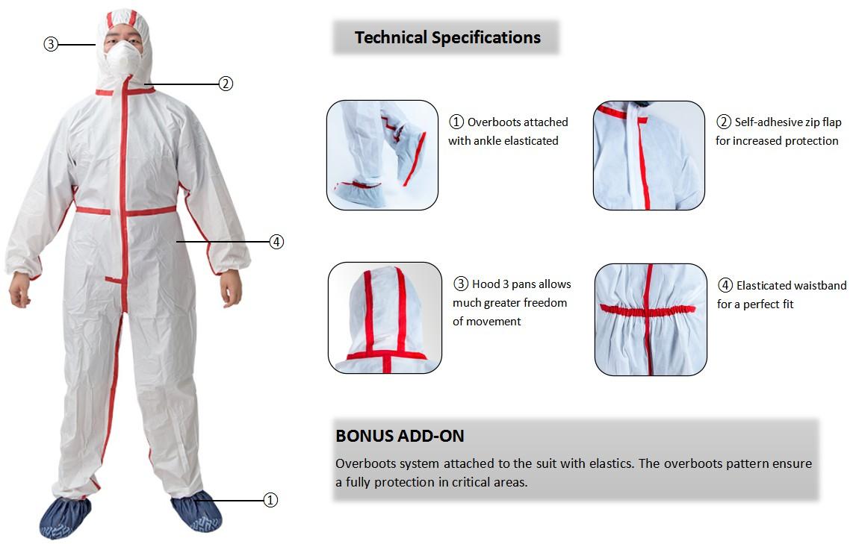 Non Woven Protective Coverall Hazmat Suits Disposable Hazmat Suits