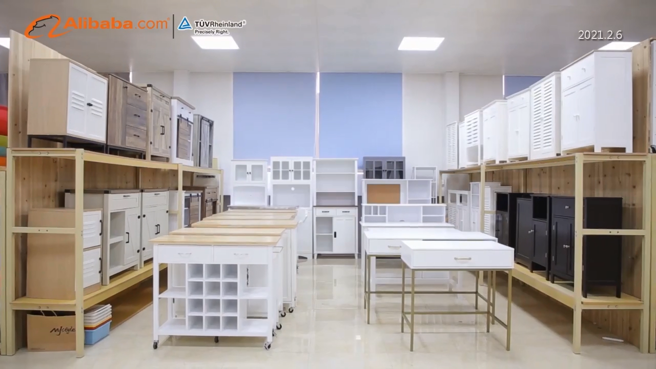 OEM Wholesale modern white wood rolling kitchen furniture cabinet island cart storage trolley with wine rack
