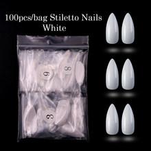 100 шт./кор. белые/натуральные/прозрачные кончики для ногтей длинные шпильки накладные полностью закрытые лаковые ногти искусственный пресс ...(Китай)