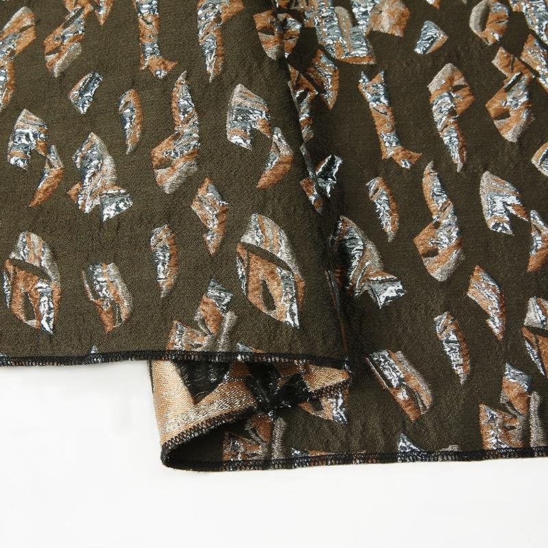SBY15B luxury 3d casual women dresses men suit geometry leopard metallic material vintage style wool acrylic jacquard fabric