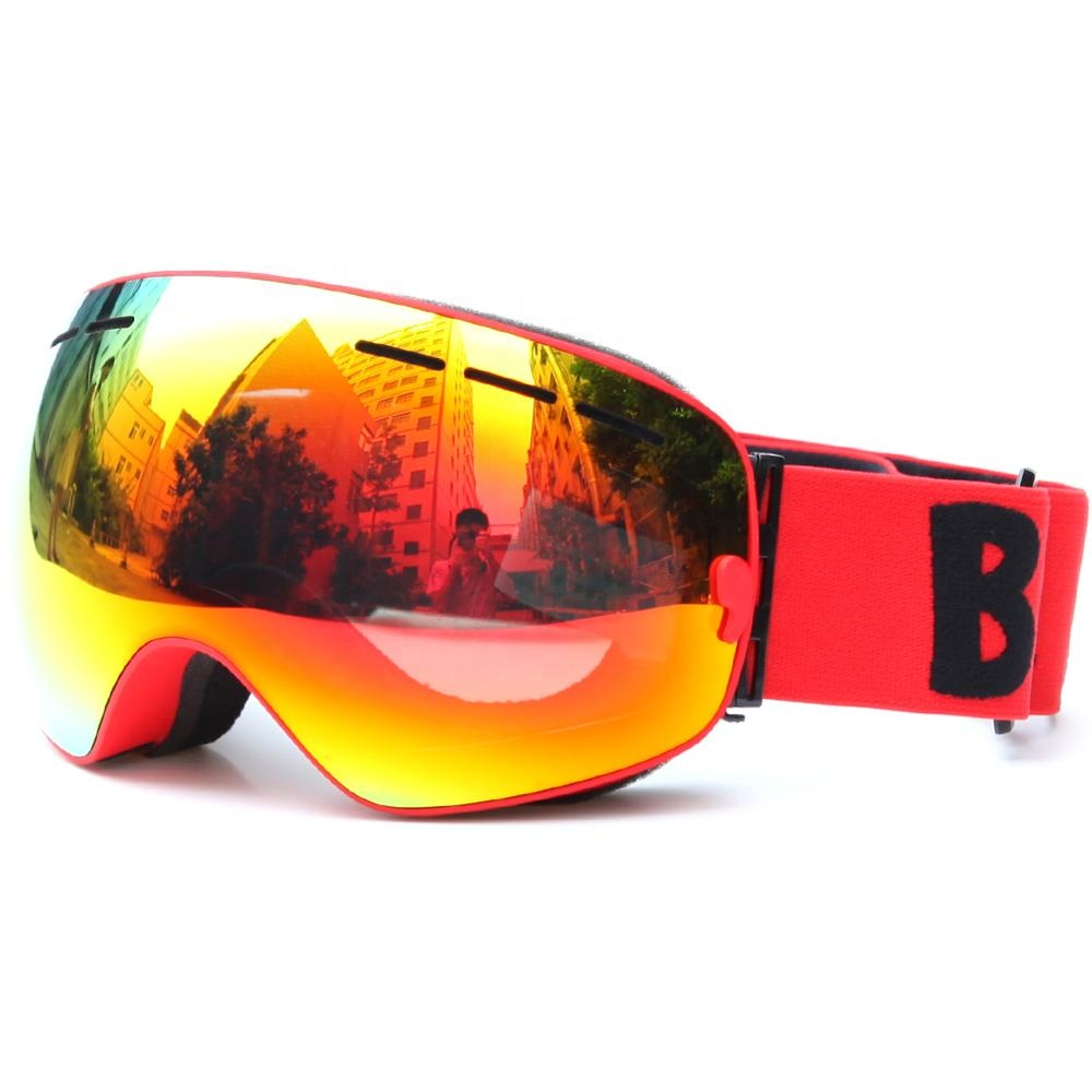 BE NICE Wholesale 50pcs/lot Red Spherical Quality Snow Goggles Double Lens Anti-Fog