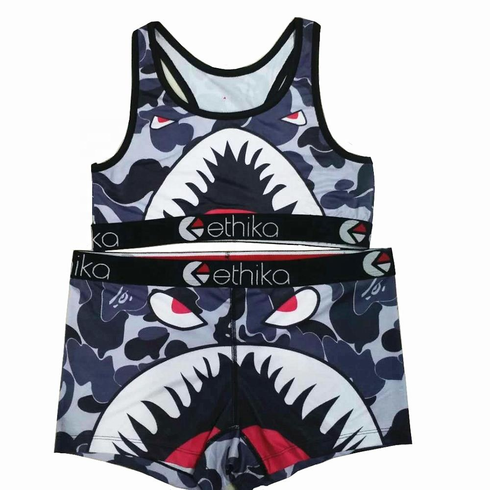 Sexy Two Piece Spaghetti Strap Sleeveless sports Crop tops Shorts female Ethika women Bra and underpants set Camouflage shark