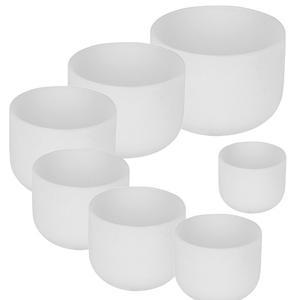 White 7pcs of A-B-C-D-E-F-D-G  Chakra Frosted White Crystal Quartz Singing Bowl Set 6