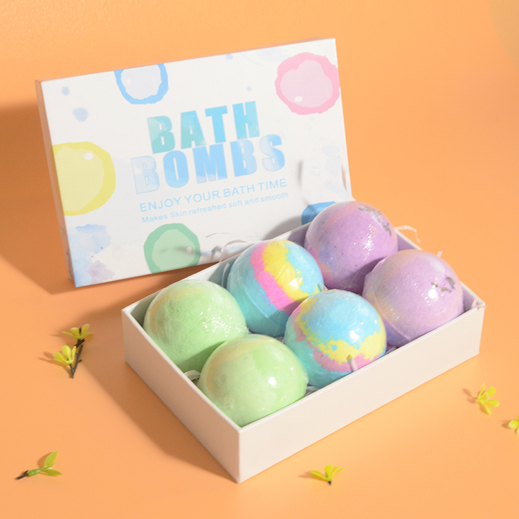 Gift Set 6 Fizzy Bubble Spa Bath Bombs Kit Organic Natural Vegan with Different Organic Essential Oils For Women/Men/Kids