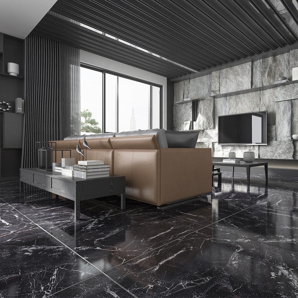 High Gloss Black Marble Floor Tiles