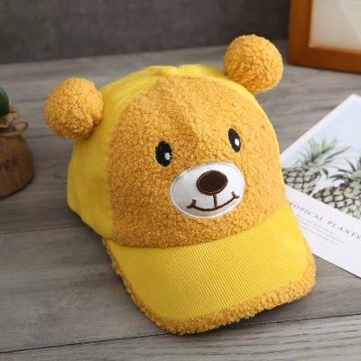 Осенне-зимние милые детские шапки со звуком медведя из овечьей шерсти
