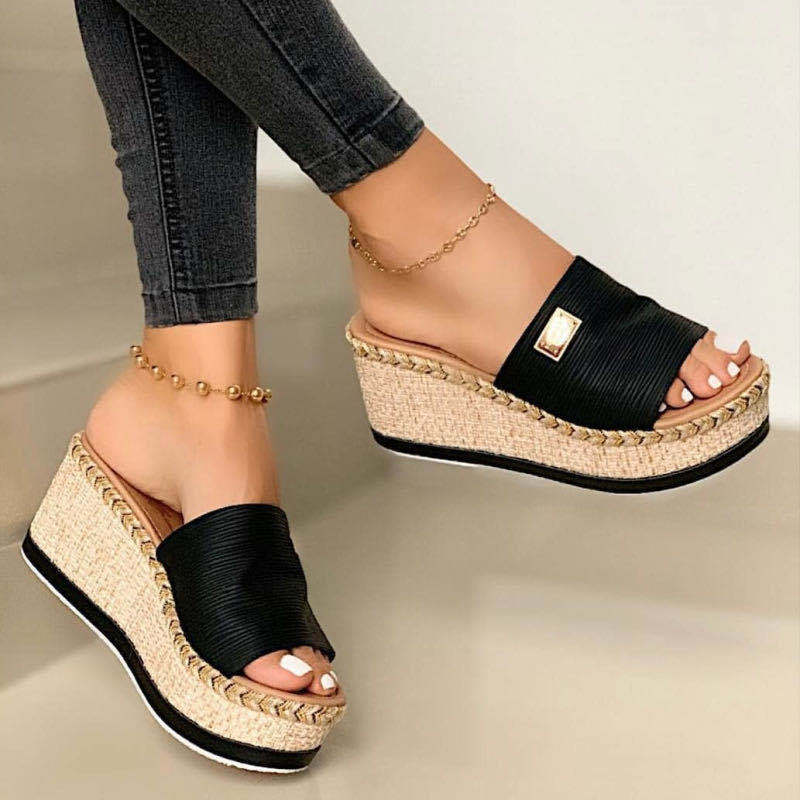designer colorful cheap casual espadrilles canvas high wedge female 2020 shoes slippers for lady