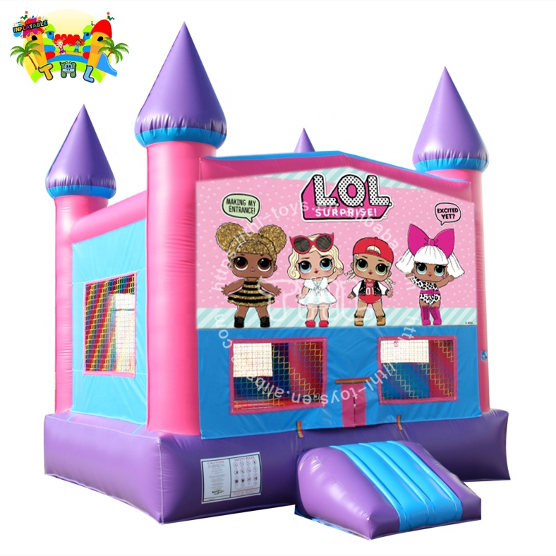 Pink Dolls commercial indoor inflatable bounce house combo wet dry slide
