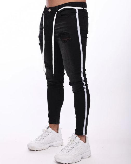 Wholesale custom 2020 side stripe ripped skinny trousers denim fabrics trousers for men casual biker men jeans