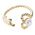 S925 Ring S925 Sterling Silver Jewelry Open Adjustable Designs Chain Twist Pearl Ring For Women