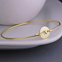 Vnox оригинальный женский браслет из нержавеющей стали золотого цвета с надписью, вечерние ювелирные изделия(Китай)