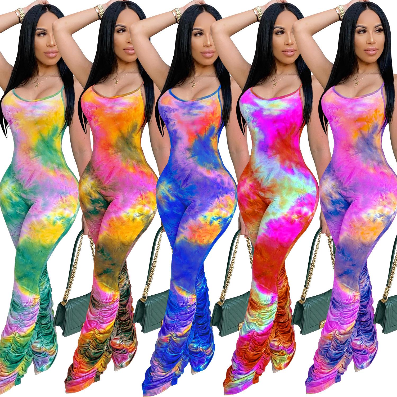2020 Best Price Women Tie Dye Print Spaghetti Strap Sleeveless Clubwear Rompers Jumpsuit
