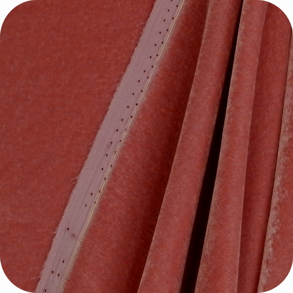 Silk rayon velvet, solid dyed in Peach Cylamen Chamois colors. Custom dyed as per Pantone colors. 65111 georgette GGT